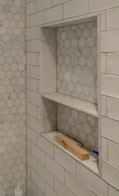 perfect subway tile shower niche