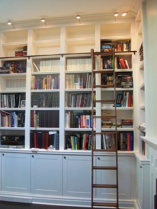 Built In Bookcases With Rolling Library Ladder