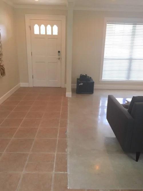 existing tile to polished concrete slab