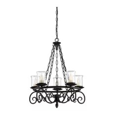 Savoy House Welch 5 Light Outdoor Chandelier Black Hanging
