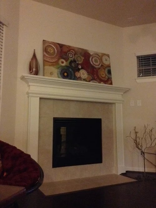 fireplace makeover with peel n stick tiles