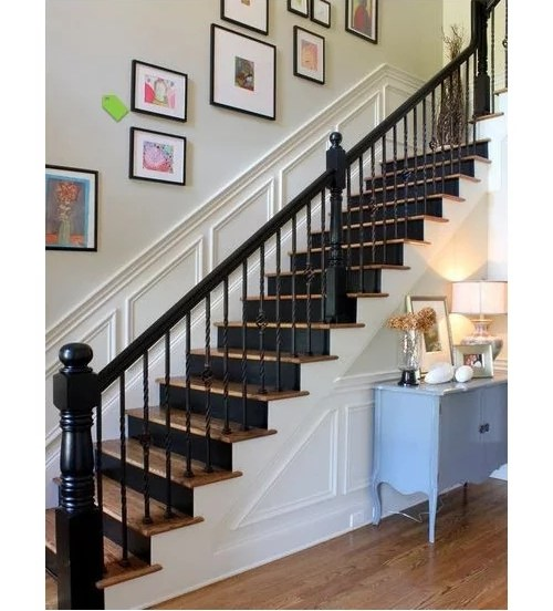 Black Painted Balusters Stained Handrail Looking For Pics   White Banister With Iron Spindles   Foyer   Remodel   Basement   Stair Heavy   Madison