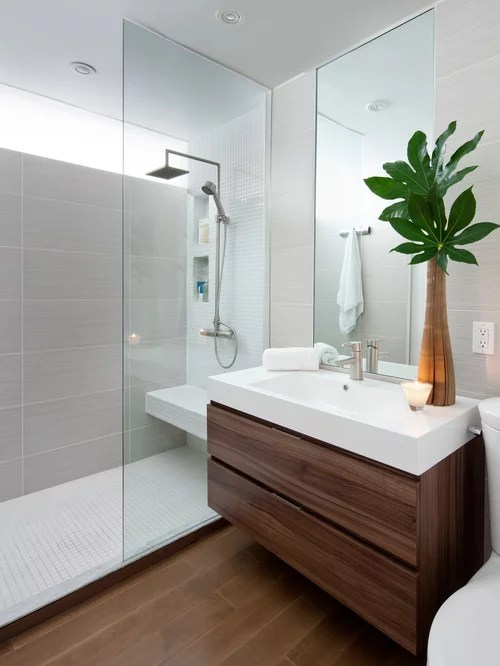 Example Of A Minimalist Gray Tile Bathroom Design In Toronto With An Integrated Sink Flat