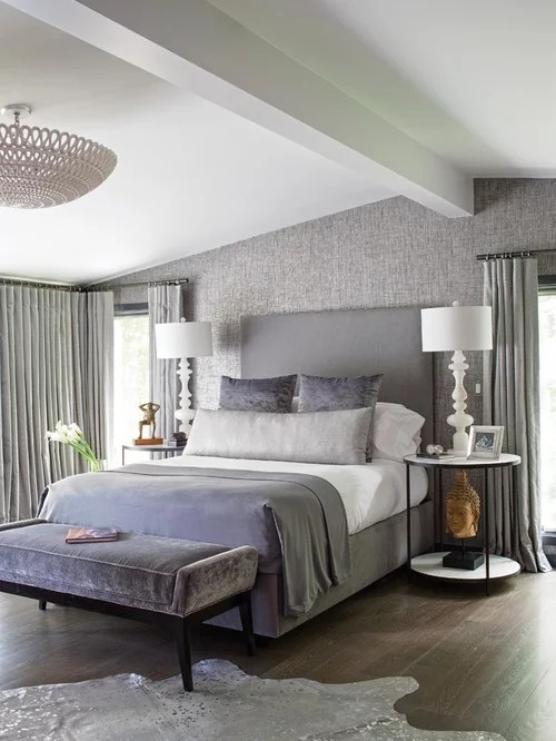 Gray Upholstered Bed Houzz