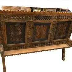 Mogul Interior - Antique Indian Sideboard Chest Dresser Vastu Chakra Carved Vintage Teak Wood Rus - Brown patina manjoosh, deeply hand carved vastu chakra designs, wooden sideboard chest.