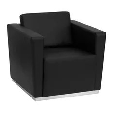 Hercules Trinity Contemporary Black Leather Chair With Stainless Steel Base