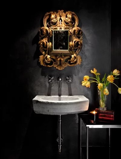 Mediterranean Powder Room by Ryan Street & Associates