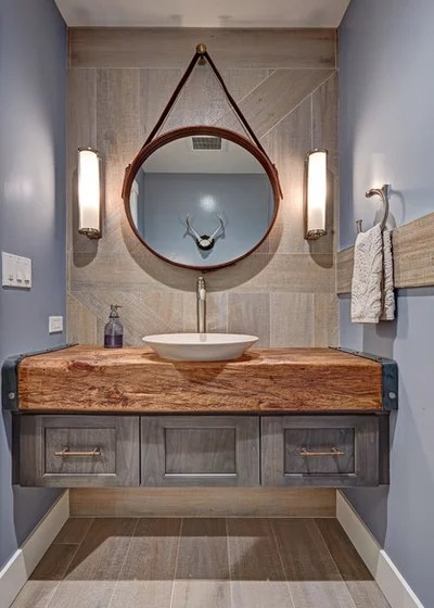 Farmhouse Powder Room by Nar Design Group