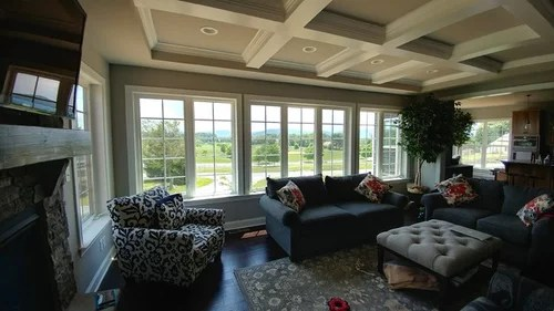 long curtain rods for wall of windows