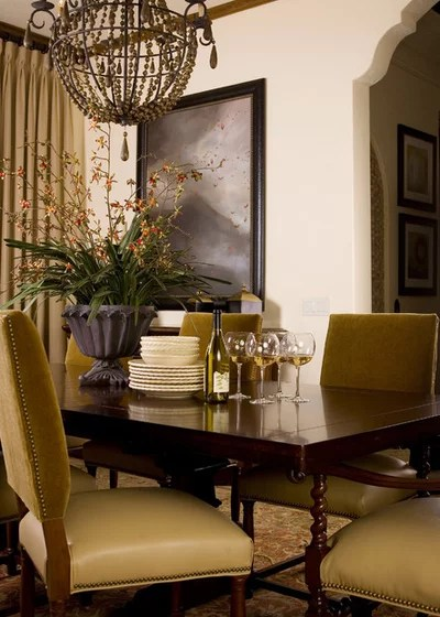 Mediterranean Dining Room by Anne Rue Interiors