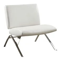 Leather Look Accent Chair With Chrome Metal Base White