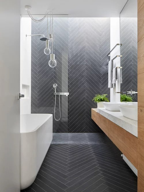 Inspiration For A Small Contemporary Master Black Tile And Porcelain Tile Porcelain Floor And Black Floor