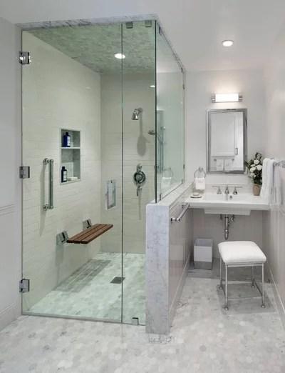 Transitional Bathroom by Barbara Grushow Designs INC