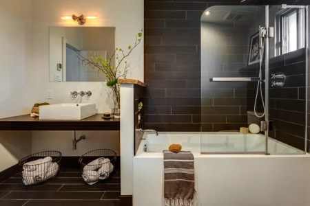 How to Design a Warm  Welcoming Bathroom for Today Contemporary Bathroom by Caroline Bouffard Design
