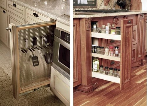 narrow pull out spice rack
