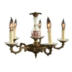 Euroluxhome Consigned Vintage French Shabby Chandelier Ceramic Chandeliers