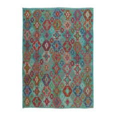 Kelim Afghan Rug Oriental Carpet 9'4x6'10 Hand-Woven Classic