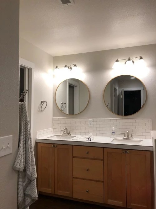 vanity lights are off center