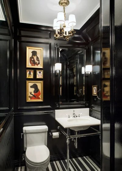 Traditional Powder Room by Ofer Wolberger, LTD.