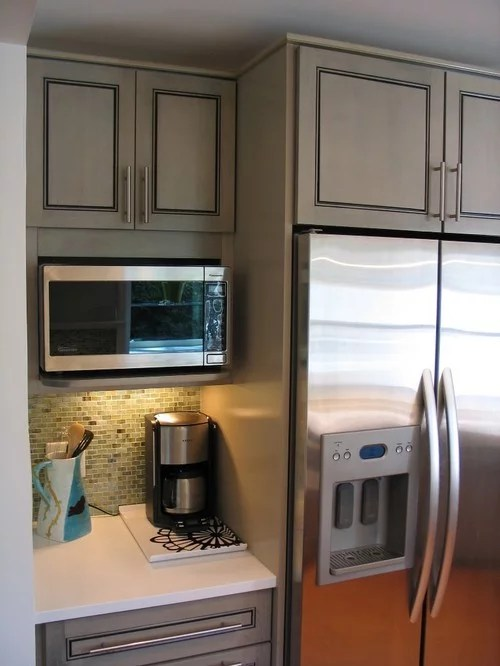 microwave shelf go right next to fridge