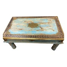 Mogul Interior - Consigned Blue Patina Coffee Table Vintage Indian Antique Furniture Jaipur Style - Solid wood Rustic Sofa square Coffee Table top has solid surface giving it a traditional feel.