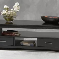 Coffee Table w 2 Drawers in Black Finish