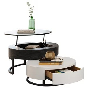 round coffee table with storage lift