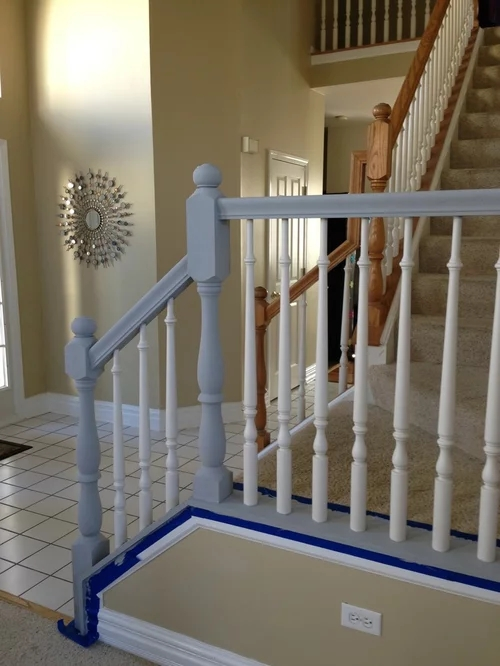 What Color For Bottom Of Banister White Or Black To Match What We   Black Wood Stair Railing   Hardwood   Curved Wood   Ash Gray   Oak   Cantilever Stair