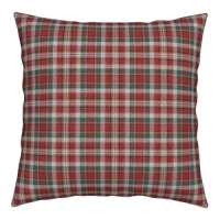 Fuzzy Look Red And Green Christmas Plaid Red Plaid Throw Pillow, Linen Cotton