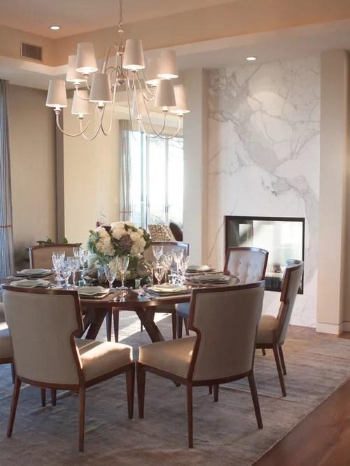 Large Trendy Dark Wood Floor Enclosed Dining Room Photo In Los Angeles With Beige Walls