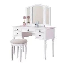 Pdx 3 Piece Bedroom Vanity Set White Makeup Vanities