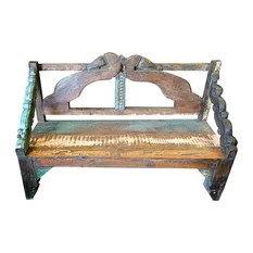 Mogul Interior - Consigned Distressed Indoor Outdoor Reclaimed Woods Bench - *Classic  long bench, This bench would enhance indoor & outdoor and is ideal an a memorial carved wooden bench from India.