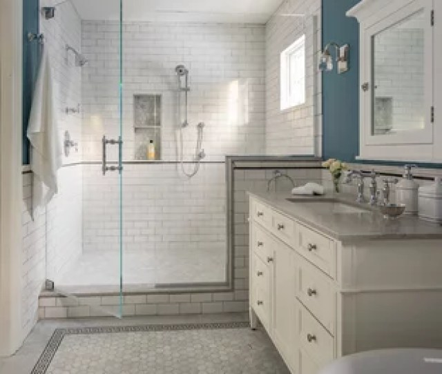 Inspiration For A Mid Sized Victorian Master White Tile And Subway Tile Gray Floor And