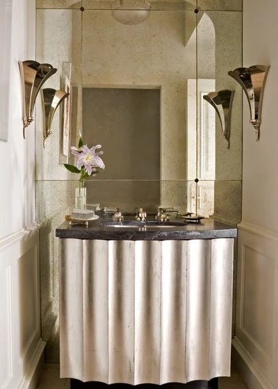 Transitional Powder Room by Studio William Hefner