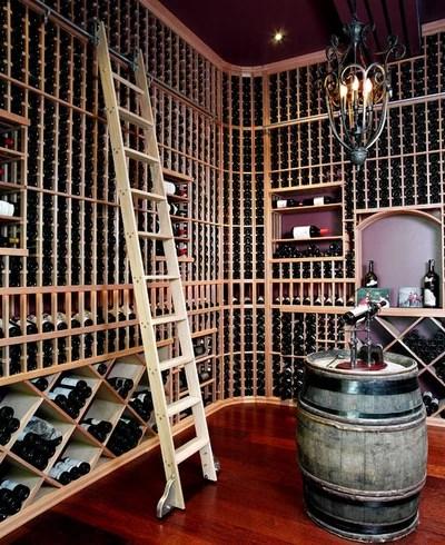 Transitional Wine Cellar by Chuck Mills Design