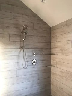 shiplap look on walls with tile