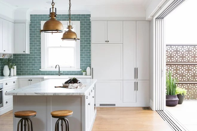Transitional Kitchen by Cloth + Stone Designs