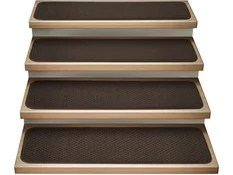 50 Most Popular Stair Tread Rugs For 2020 Houzz | 36 Inch Carpet Stair Treads | Basement Stairs | Slip Resistant | Coffee Brown | Diamond Trellis | Bullnose Carpet