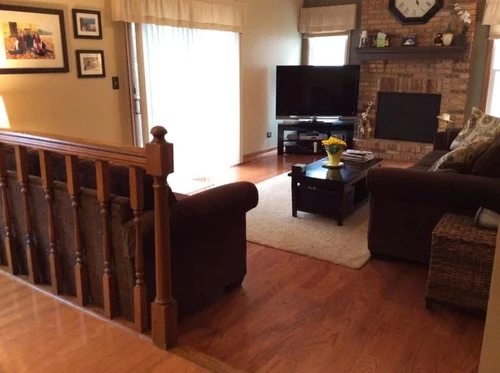 What To Do With Railing And Step Down Into Family Room | Living Room Railing Design | Balcony | Stair Case | Flooring | Step Down | Wrought Iron