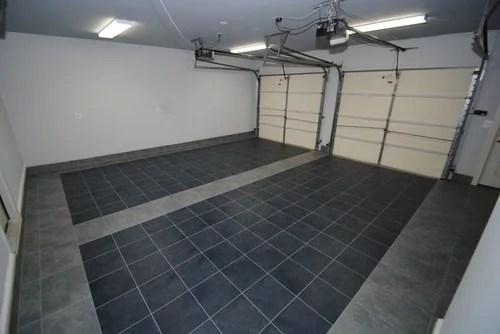 luxury tile floor installation in garage