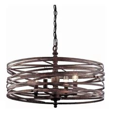 Miseno Pasco 4 Light Strap Cage Chandelier Weathered Iron Chandeliers