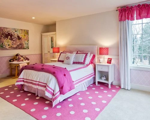 pink white bedroom | houzz
