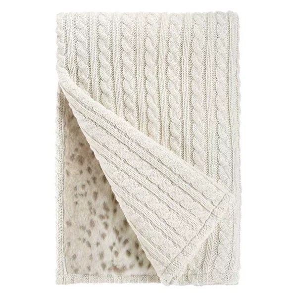 Ivory Cable Knit & Lynx Faux Fur Cozy Throw Blanket by Fabulous Furs