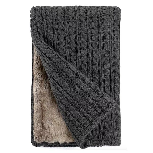 Cable Knit and Lynx Faux Fur Cozy Throw Blanket