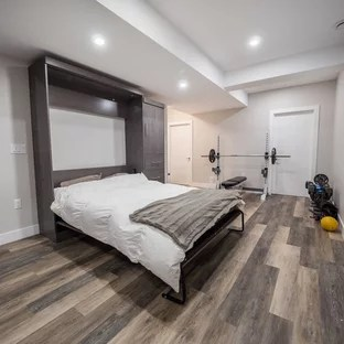 75 Popular Contemporary Basement Design Ideas   Stylish Contemporary     Mid sized trendy look out medium tone wood floor and brown floor basement  photo