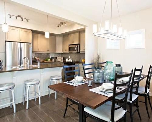 Kitchen Dining Room Combo Transitional Dark Wood Floor Idea