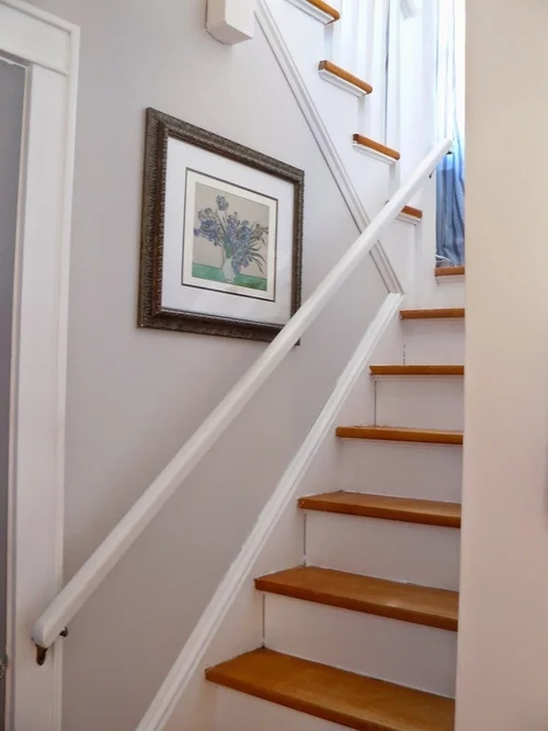 Refinishing Stair Treads Any Ideas   Staircase Refinishing Near Me   Basement   Restaining   Brown Stained   White Riser   Grey Flooring
