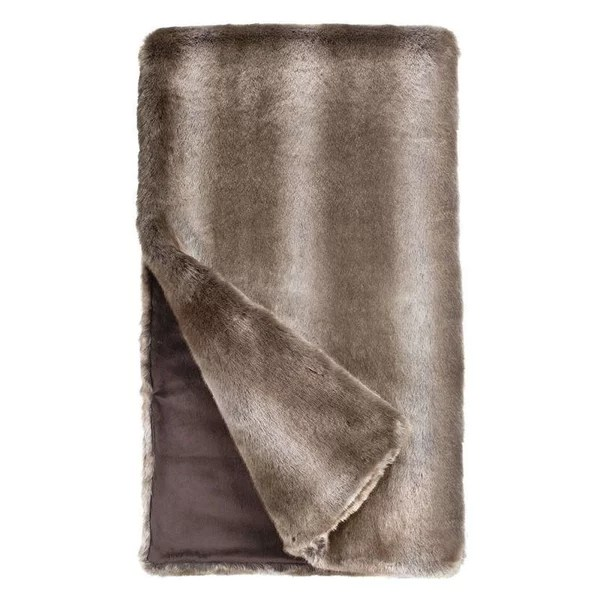 Timber Wolf Couture Faux Fur Throw Blanket, Throw 60x60