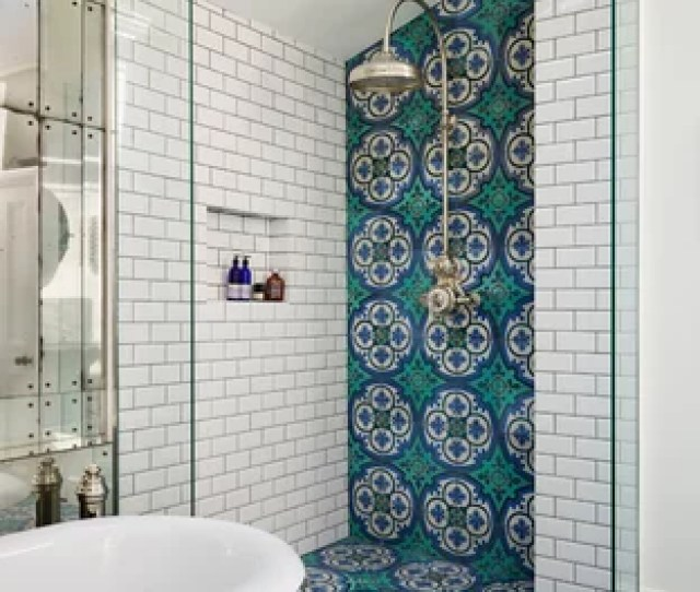 Ornate Master Multicolored Tile Turquoise Floor Bathroom Photo In London