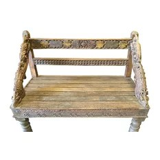Mogul Interior - Consigned Indian Bench Hand Crafted Floral Rustic Reclaimed Wood Accents - *Classic 4 sitter long bench, This bench would enhance indoor & outdoor and is ideal an a memorial carved wood bench from India.